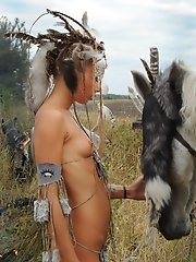 Petite girl dressed up as an Indian rides a horse and lets you peek under her loincloth.